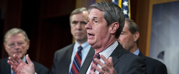 UNITED STATES - MAY 7: Sen. David Vitter, R-La., speaks as, from left, Sens. James Inhofe, R-Okla., Jeff Merkley, D-Ore., and Tom Udall, D-N.M., look on, during a news conference in the Capitol's Senate studio on the Chemical Safety Improvement Act, May 7, 2015. (Photo By Tom Williams/CQ Roll Call)